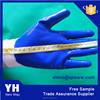 blue latex nylon work gloves crinkle coated 15 gauge nylon glove