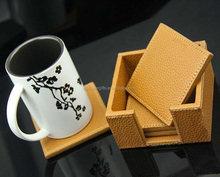 square pu leather drink coaster for home furniture pink yellow coaster