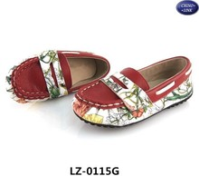 Newest girls leather loafer shoes fancy kid flat slip on casual shoe