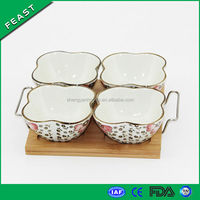 Ceramic porcelain snack serving dish set w/Kitchen bamboo cutlery tray