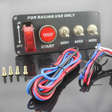 Car Modification Interior High Grade 4 Small Switch Combination A Key To Start LED Lights Red Waterproof Plastic Material
