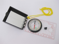 Standard Military folding ruler map compass/map Compass with mirror