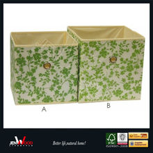 Green Leaves Fabric Organizer Storage Box