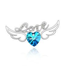 WSF0074 SILVER VIOLET ANGEL WING LOVE HEART BROOCH CRYSTAL angel wing brooch