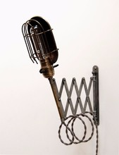 7.24-5 Industrial Wall Mount Extension Light - Steel Cage Shade Antique Patina