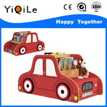 Cute kids car shape bookshelf for kindergarten