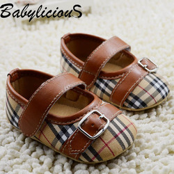 Fashion grid Kids Baby Shoes FU Leather & Cotton Shoes Newborn First Walkers Shoes