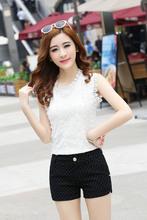 Summer new dot print shorts, women's casual pants shorts female black white Pants Trousers