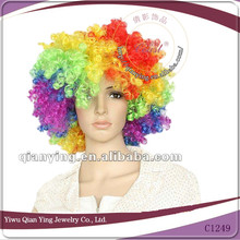 crazy rainbow color cheap afro curly clown party wigs