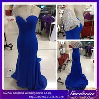 Rhinestions Backless Fashion 2015 Party Dress Sweetheart Beaded Long Length Mermaid Blue Chiffon One Shoulder Prom Dress Pattern