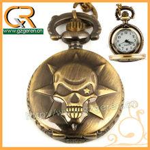 1247o Alloy brass steampunk sharp-angled skull watch pocket