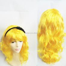 Cheap Kids Adult New Blonde Ladies Long Wavy Curly Fancy Dress Human Hair Full Wigs + cap Halloween Synthetic Hair QPWG-2064