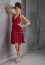 Free shipping halter V-neckline ruched chiffon custom-made cheap 2015 wine red knee length bridesmaid dress CWFabb3521