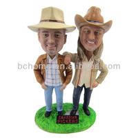 Polyresin customized double cowboy brother farmer bobblehead gifts