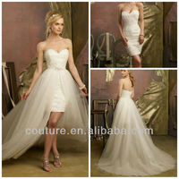 2013 Gorgeous sheath strapless lace mini length waist front short and long back wedding dresses wd169