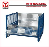 Collapsible and stackable steel pallet container warehouse cage box stillage (L1175*W995 mm/OEM)