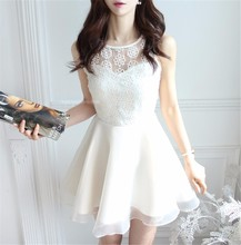 zly210 Fashion Spring Women Cute Sleeveless Dress Openwork Embroidery Lace Round Collar Dress Black And White
