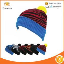 POM POM Beanie Zebra Color Plain Winter Cap Skull Hat Ski Knit Warm Cuff beanie