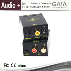 Digital to Analog Audio Converter with SMI Gold Plated 6ft Optical TOSLink Cable and RCA-to-3.5MM Audio Cable- 192kHz/24bit Opti