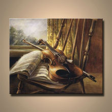 Framed Piano Oil Painting