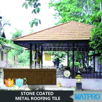 flat double color spanish tile metal stone coated roof