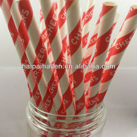 New Pattern 25 Red Striped CHEERS Paper Straws for party favors