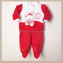 2015 new design hot sale baby knitted pure cotton suit sweet and lovely style