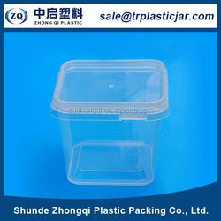 High quality 500ml square PS plastic box,500ml square big clear plastic gift boxes container with lid