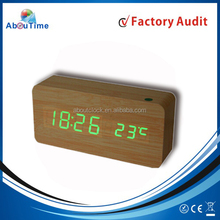 Wooden digital table clocks with outdoor led clock temperature display