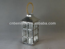New Rustic and Glass stainless stell candle lantern for decoration
