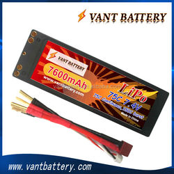 High Rate Discharge RC Lipo Battery 7600mAh 75C 2S2P 7.4V Hard Case Lipo Battery For Car model