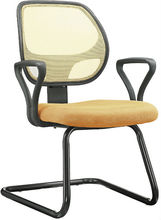 middle size mesh office chair with armrest without swivel and wheels