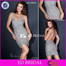 rs4904 Bateau escote sin mangas See Through hombro brillante Vestido de lentejuelas vestido corto de tul prom