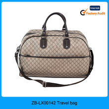2015 high quality wholesale latest vintage classic satin polyester womans travel bag with PU handle