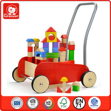 Top Bright Sport EN71 and ASTM test baby walker with wheels storage car holding blocks montessori products montessori toys wood