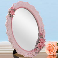 Acrylic 2015 high quality resin large reflective wall decor mounted mirror table stand oval shape cosmetic mirror BY001
