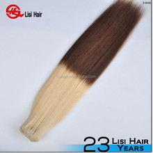 Gold supplier full cuticles cheap 100% remy two tone clip in hair extension