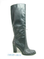 tiny stud at toe and panel riding boot