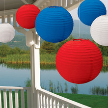 Round Paper Lanterns Assorted Colors Can Combine with LED Light for Chrismas Decoration