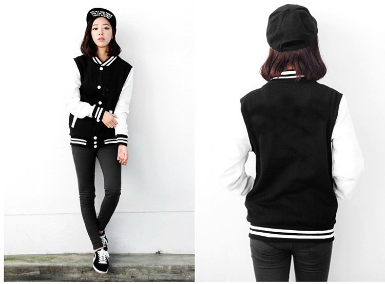 Fashion Women Baseball Jacket Harajuku Outerwear Slim Jacket Plus ...