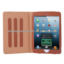 factory Luxury book leather tablet case for ipad mini 2 with 3 class stop strips