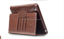 2015 latest leather case for ipad air 2 in brown, untra thin and portable leather case for ipad 6 with card holders HH-IP616-8