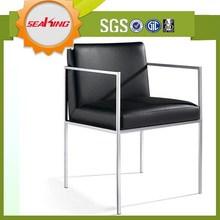 Antiguo silla de comedor de metal con apoyabrazos, barato silla de comedor de metal