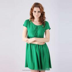 YIGELILA 2015 Wholesale Fashion Cheap Womens Green High Waist Ruffled Short Size Casual Chiffon Dresses Shoes 6382