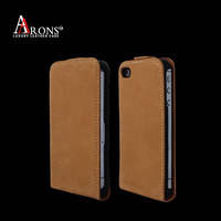 Ulltra thin top grain leather flip case for iphone 5s cover
