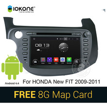 Android 4.4 pure 3g wifi car dvd stereo player with gps bluetooth for Honda new fit 2009-2011