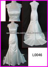 2014 verdaderos de la muestra cap mangas de raso vestidos de boda de la sirena Guangzhou / vestido de novia de encaje / arco L00