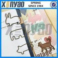 Customer design Bronzen color big flat metal pig paper clip