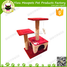 red color paw print cat play condo with relax perch, small size high quality cat condo