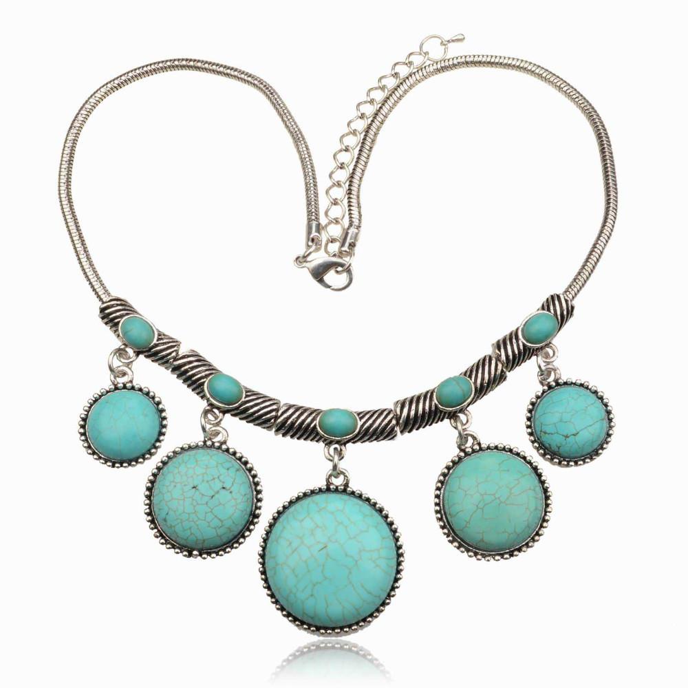 винтажные neckalce выдолбленных персик сердца любовь естественный бирюзовый бронзовые круглые овальные квадратных цветок металла заявление neckalces подвески